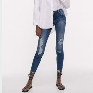 Zara Blue Denim Ripped Compact Skinny Jeans Size M